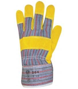 Bőrkesztyű, sárga marhahasíték, csíkos vászon,tenyérbélés
