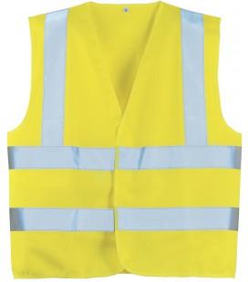 Jólláthatósági mellény vízszintes csíkkal - sárga