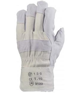 Bőrkesztyű, szürke marhahasíték/fehér vászon kézhát