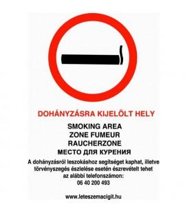Dohányzásra kijelölt hely - tábla/matrica