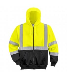 B315 - Hi-Vis kéttónusú kapucnis pulóver - sárga/fekete