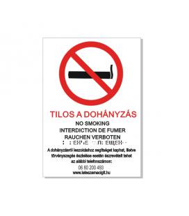 Dohányozni tilos! tábla