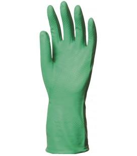 Nitril, zöld vegyszerálló kesztyű, 32cm/0,4mm, érdesített