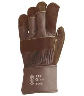 Bőrkesztyű, barna marhahasíték, erős, barna vászon kézhát