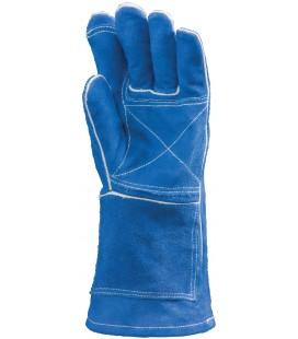 Hegesztőkesztyű, kék dupla marhahasíték, bélés, 350°c