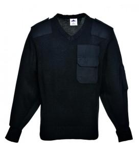 B310 - NATO pulóver, 100% akril, pamut rátétek - több színben