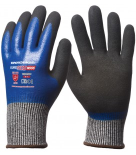 Eurocut 5 vágásbiztos kesztyű, végig kék nitril + sandy csb réteg