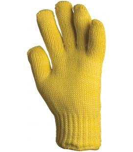 Kötött sárga kevlar kesztyű, 27 cm, 250°c, pamut belső